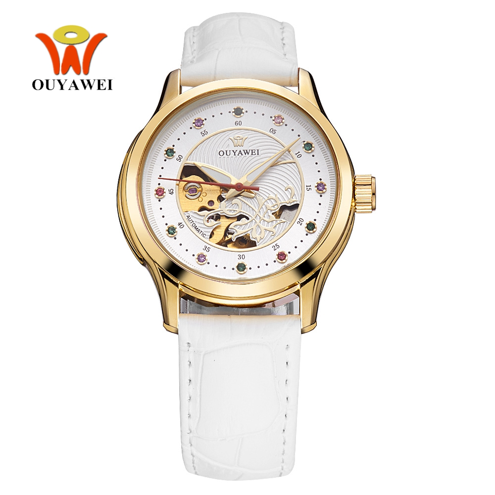 Top Sale OYW Female Automatic Mechanical Watch Leather Band Watch Fashion Woman Wristwatch Dress Watch Business Lady Reloj Mujer winner woman s watch fashion lady design brand automatic dress wristwatch wrl8011m3g3