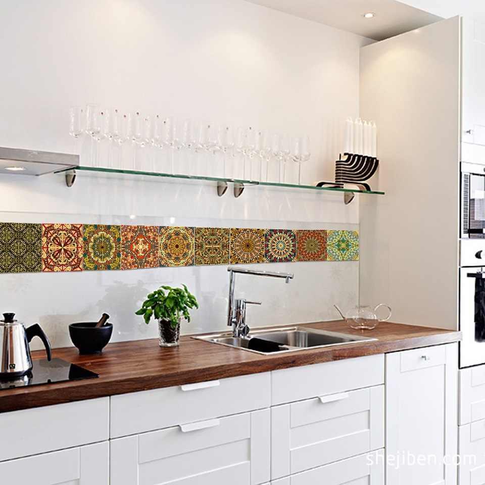 10pcs Diy Mosaic Tile Decals Bathroom Waterproof Pvc Self Adhesive Wallpaper Border Kitchen Backsplash Wall Stickers Home Decor