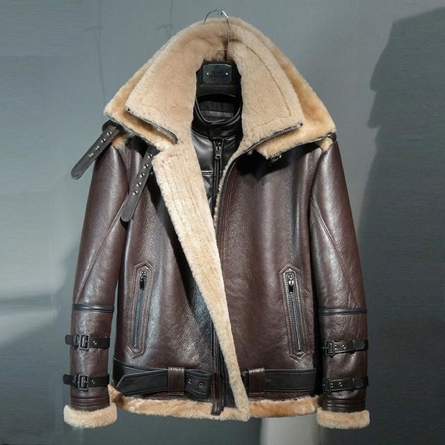 2018 WINTER MEN'S fashion vintage SHEEP FUR double collar sheepskin genuine leather wool lining biker airman JACKET COAT b3