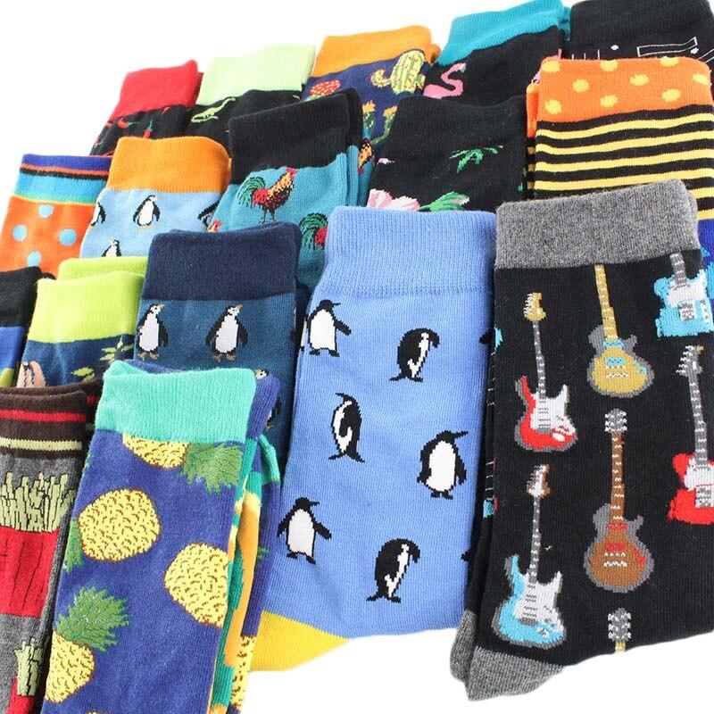 Men Socks Fashion Cartoon Monkey Beer Fish Funny Harajuku Hip Hop Sokken Street Style Happy Casual Skate Cotton Socks Creative