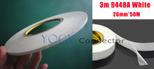 1x 26mm 3M 9448A White Two Sided Tape for Cell phone LCD Panel Case Bond, Bumper Strip Foam PVC Joint
