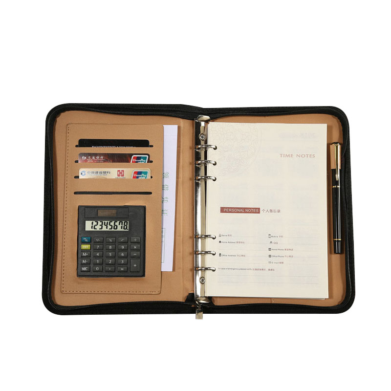 A5 A6 Organizer Travelers Faux Leather Book Cover Weekly Planner Ring Binder Core Notebook With Zipper Calculator Card Holder