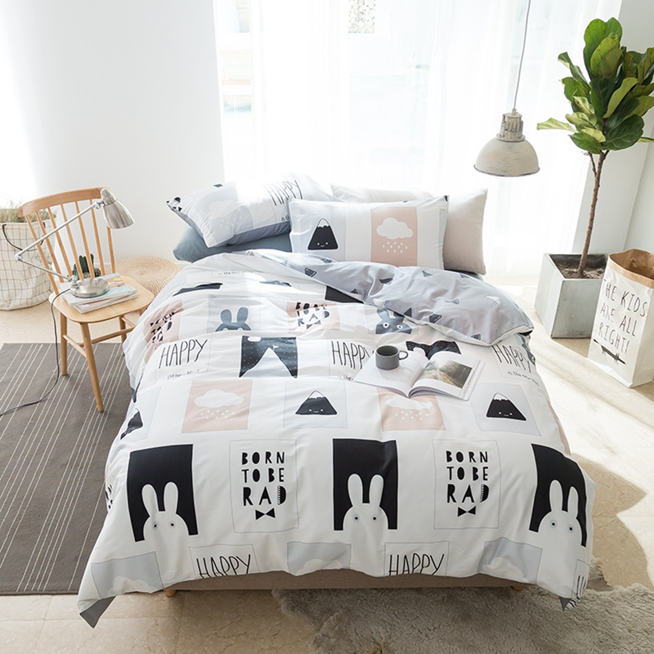 black and white duvet cover set twin queen king size bedding sets for adults cartoon rabbit