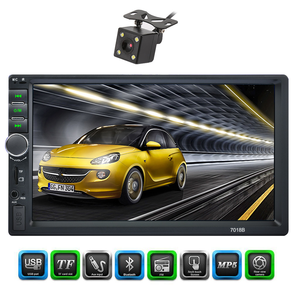 2 Double Din 7018B Car MP5 Player 7 Inch Touch Screen Auto Car MP4 Video Player Radio Remote Control With Rear View Camera new 7 inch 2din bluetooth car radio video mp5 player auto radio fm 18 channel hd 1080p in dash remote control rear view camera