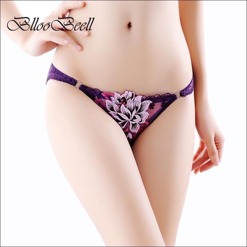 BllooBeell Bragas de encaje para mujer Ropa interior sexy Hollow Out Calzoncillos para mujeres Low Rise Bordado femenino Lencería Calzoncillos para niña