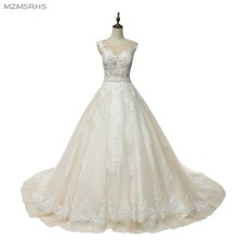 MZ-MSRHS Vintage Sleeveless Wedding Dresses 2017 Cathedral Train Lace Princess See Through Sexy Bridal Gowns