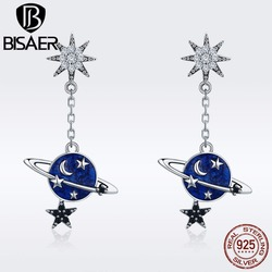 BISAER 925 Sterling Silver Brincos Sparkling Plant Moon and Star Stud Earrings for Women Sterling Silver Jewelry S925 ECE348