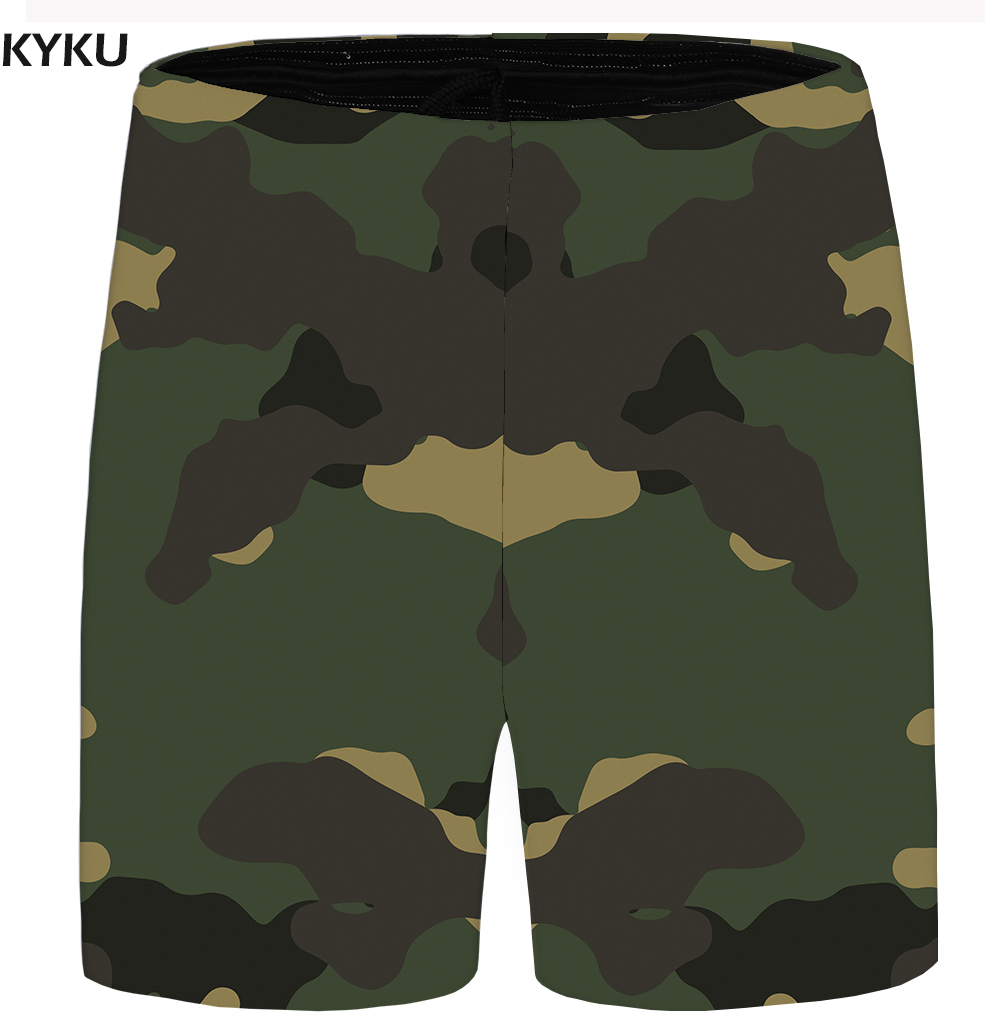 KYKU Camo Shorts Men Graphic Beach Casual Shorts Cargo Vintage Cool 3d Print Anime Mens Short Pants 2018 New Summer Big Size