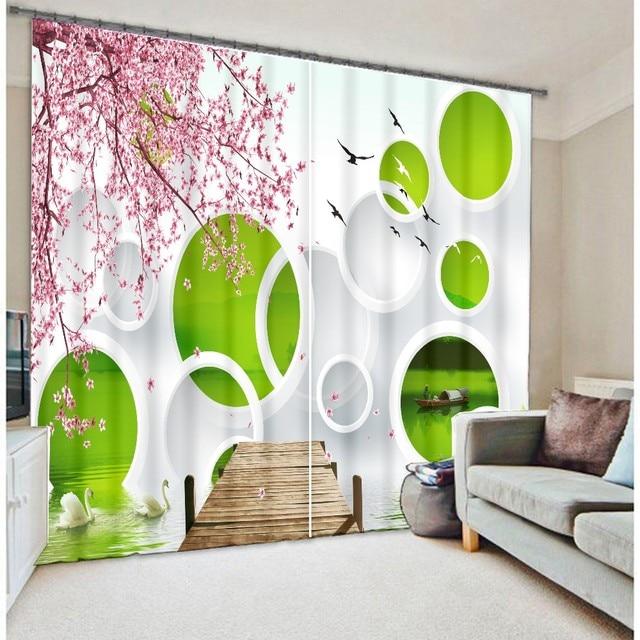Moderne De Mode De Luxe Vert Cercles 3D Blackout Rideaux Pour ...