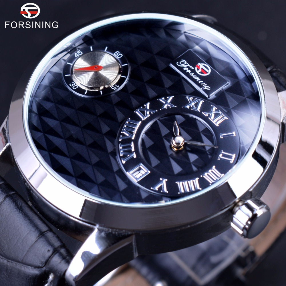 Forsining Small Dial Second Hand Display Mens Watches Top Brand Luxury Automatic Fashion Casual Watches Obscure design Clock Men forsining date month display rose golden case mens watches top brand luxury automatic watch clock men casual fashion clock watch