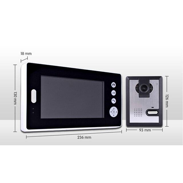 Porte vidéo sans fil TFT 2.4GHz   Sonnette dinterphone visuel, prise de Photo, clé tactile, mains libres appel et parler, vision nocturne