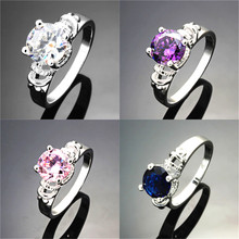 Wholesale Engagement Party Ring 2016 New Fashion Crystal Rhinestone Crown Ring For Women Cute Elegant Luxury Sliver Plated Party