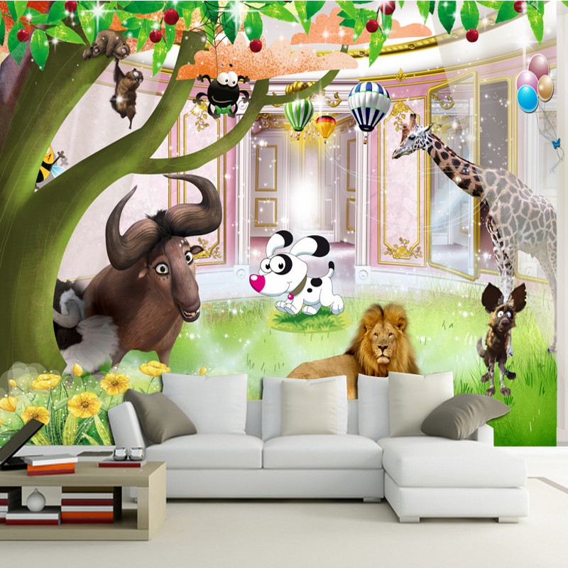 Custom 3D photo wallpaper 3D Cartoon forest animal park background custom murals Children's room decoration wallpaper shinehome black white cartoon car frames photo wallpaper 3d for kids room roll livingroom background murals rolls wall paper