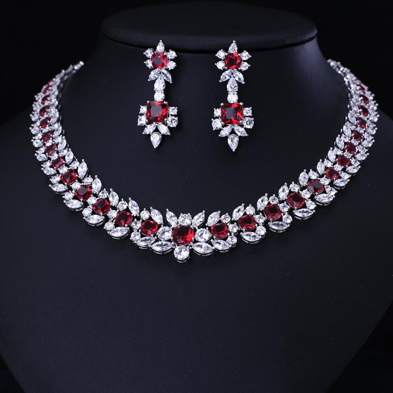 Luxury Red bridal Jewelry Sets Exquisite Square Shape Micro Inlay Small Stone Cubic Zirconia Crystal letter b shape rhinestone inlay hairclip