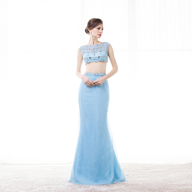 e6e70fb0553b Blue Two Piece Evening Dress Floor Length Rhinestone Clear Beaded Top Cap  Sleeves Semi Formal Evening Gowns Long Party Dress