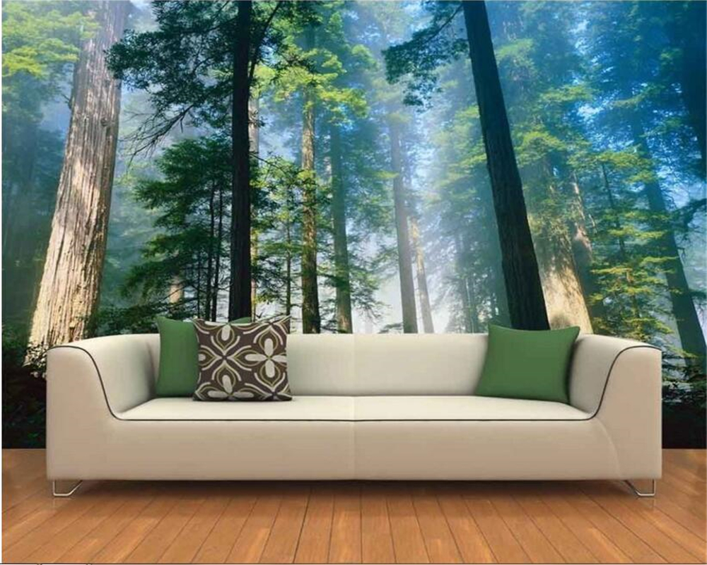 beibehang Modern home decoration 3d photo wallpaper nature landscape original forest TV background wall wallpaper for walls 3 d wallpaper for walls 3 d modern trdimensional geometry 4d tv background wall paper roll silver gray wallpapers for living room