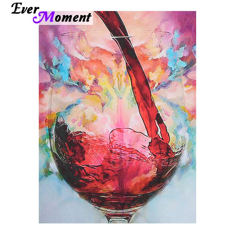 Ever Moment Diamond Painting Picture Of Rhinestone Mosaic Wine Glass Full Square Drill Diamond Embroidery Decoration Home 3F637
