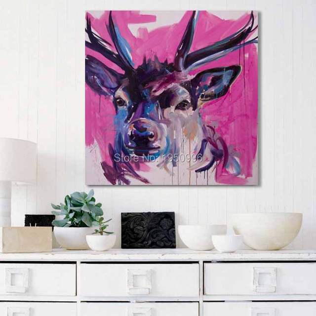 100% Hand-painted Oil paintings Canvas Living Room Decor Modern Style Red Purple Fat Deer Picture Animal Landscape High Quality