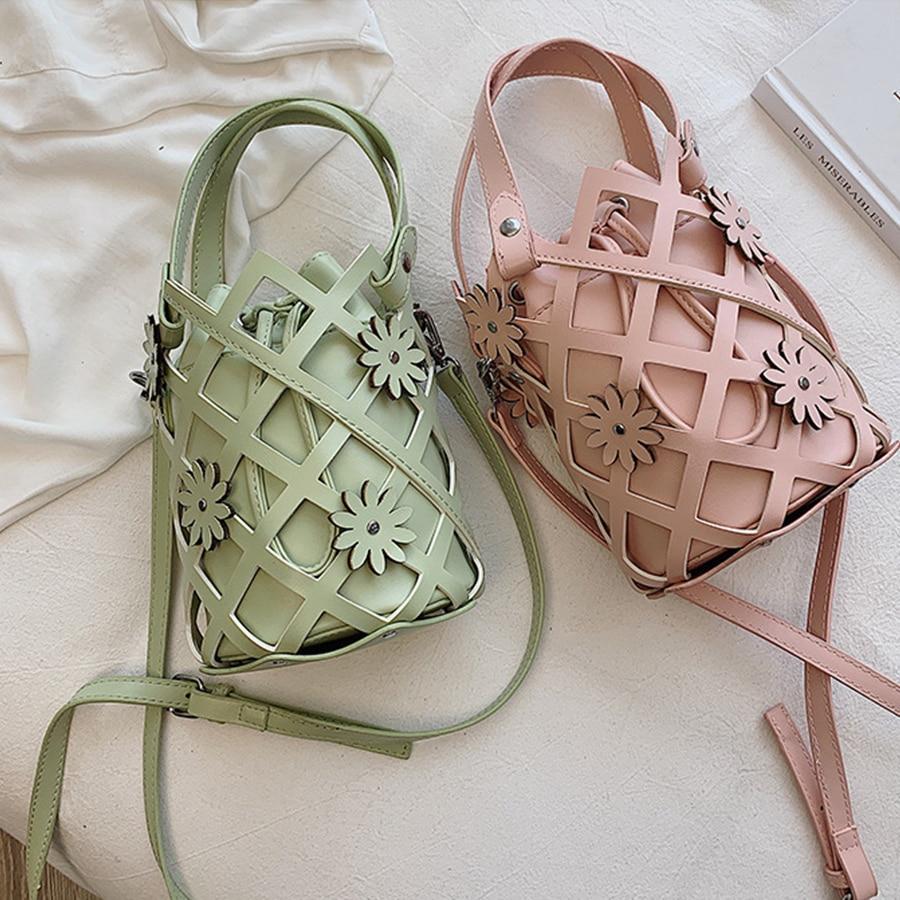 Woven Hollow Flower Bucket Bags Women Handbags Casual Drawstring Pu Leather Shoulder Messenger Bag Design Crossbody Sacs