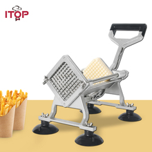 Купить с кэшбэком ITOP Manual Potato Chip Machine French Fries Cutter Stainless Steel Vegetable Fruit Slicer with 6/9/12 mm Blades Kitchen Tools