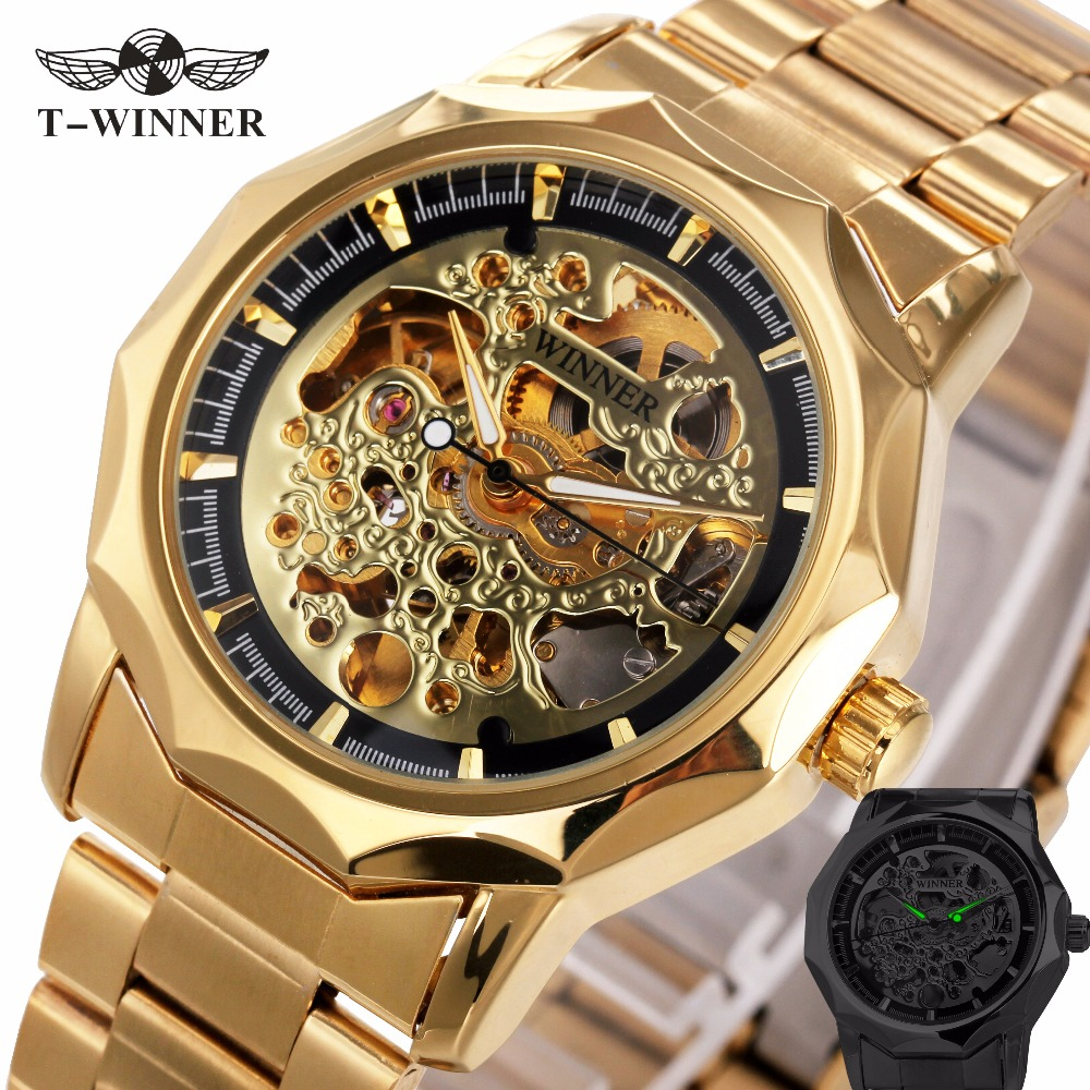 Golden Watches For Men 2018 WINNER Top Brand Luxury Men's Auto Mechanical Watches Luminous Hands Skeleton Royal Carving Series