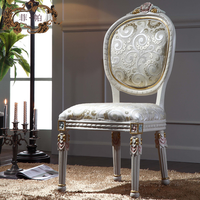 european style furniture - solid wood leaf gilding dining chair