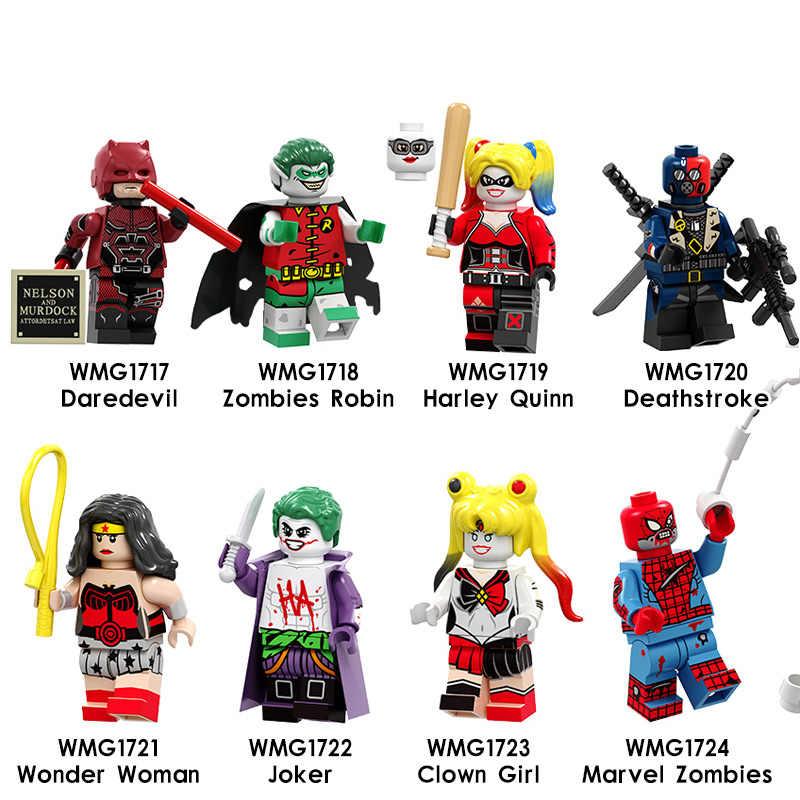 f57b82e162d61 Single Legoings Figures Building Blocks Daredevil Zombie Robin Deathstroke  Wonder Woman Harley Quinn Collection For Children