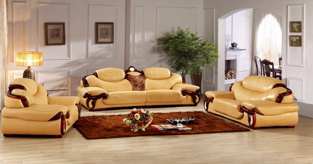 Superior Antique European Leather Sofa Set Living Room Sofa Made In China Sectional  Sofa