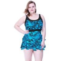 PNT059 3 piece suit Bikinis Women 2017 Push Up Plus Size Tankini Floral Print Women Push Up Loose Skirt Style Swimwear Swimsuit