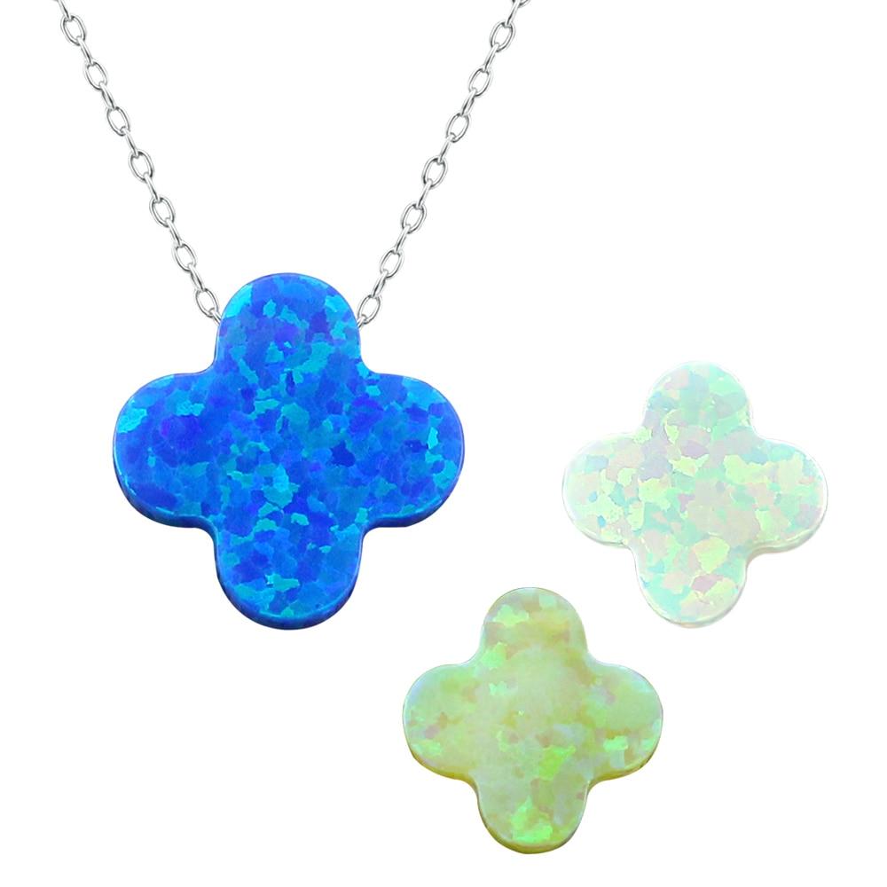 3 Colors Necklace Women Silver 925 Four Leaf Clover Opal