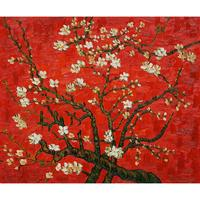 Handmade oil painting reproduction of Vincent Van Gogh Branches Of An Almond Tree In Blossom in Red Living room decor