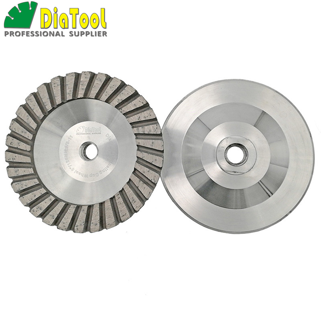 DIATOOL 2PK 5inch 125mm #30 Aluminum Based Diamond Grinding Cup Wheel 5/8-11 thread Grinding Discs Granite Concrete Diamond fine
