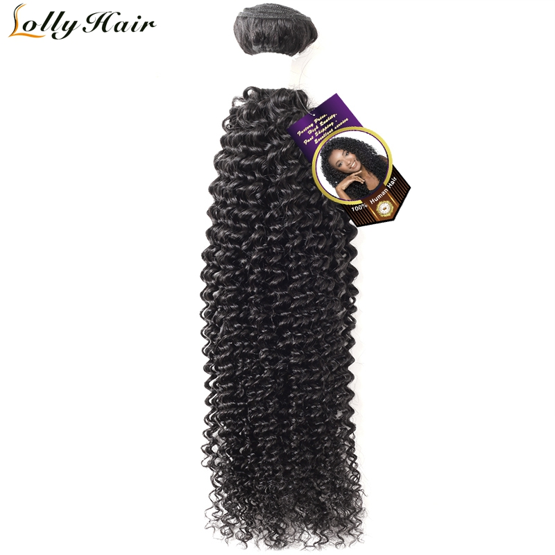 Lolly Hair Brazilian Kinky Curly Bundles Natural Black Color Remy Hair Bundles Curly Weave Human Hair Extensions 1 Piece Only