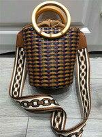 100% ручной работы плетением женские grand корзина ведро Сумочка Кожа Ткань Летняя Пляжная путешествия кожаные сумки