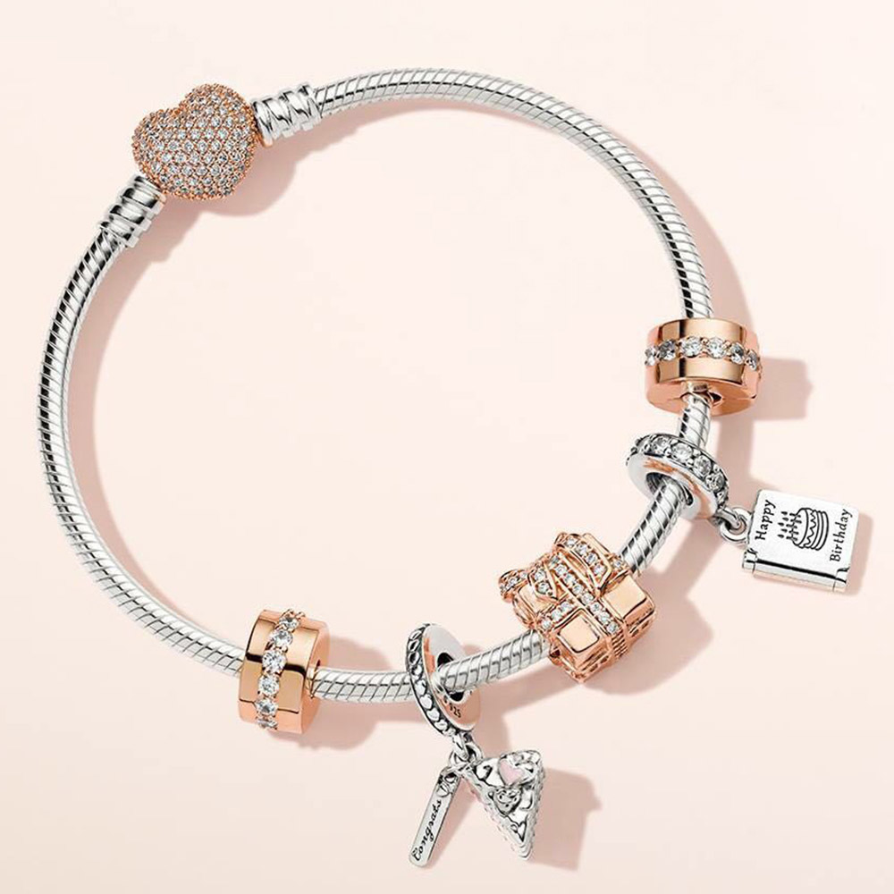 Kristie 100% 925 Sterling Silver ROSE SPARKLING SURPRISE CHARM Birthday Wishes Card CELEBRATION CAKE HANGING CHARM Bracelet SetKristie 100% 925 Sterling Silver ROSE SPARKLING SURPRISE CHARM Birthday Wishes Card CELEBRATION CAKE HANGING CHARM Bracelet Set