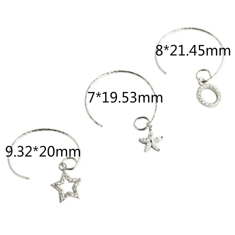 Flyleaf Round Flower Star Zircon Earrings For Women 925 Sterling Silver Student Girl Gift Fashion Jewelry in Earrings from Jewelry Accessories