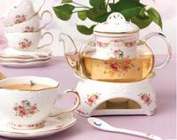 Parfumée thé mis en céramique verre bougie chaud thé poêle base théière maison cadeau livraison gratuite