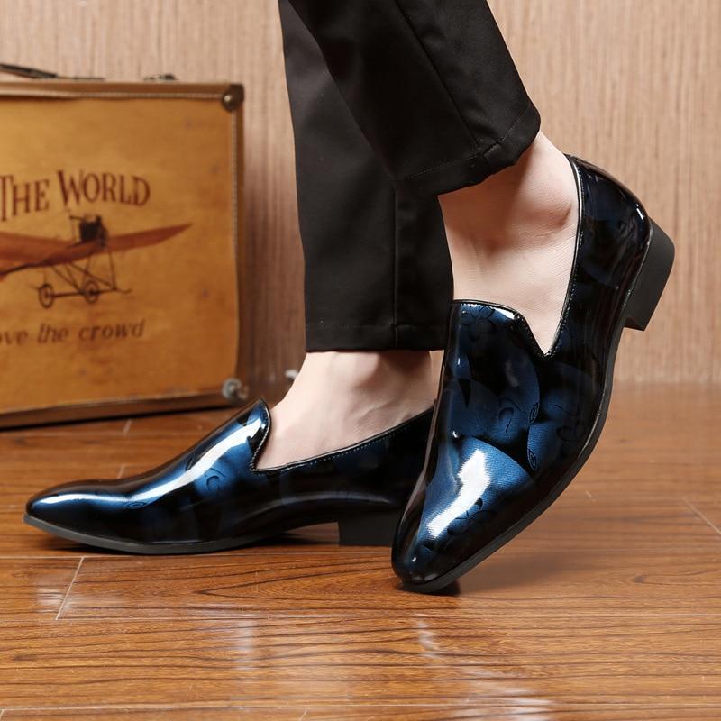 Couro Slip Para Apartamentos White Ocasional De Dos 2018 Homens blue Oxfords Sapatas Hombre Sapatos Zapatos Mocassins on red Floral Condução qv6TzF0Tc
