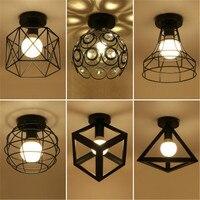 Vintage Ceiling Lights E27 Bulb LED Lamp Modern Art Home Decor Iron Lampshade Lamparas De Techo