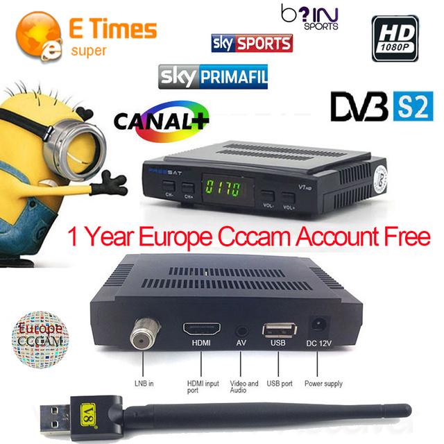Cccam cline para 1 anos a europa DVB sintonizador de satélite receptor HD freesat v7 + 1 pc suporte a usb wifi HD cccamd newcamd tv sat decodificador