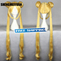 100cm long straight gold sailor moon cosplay wig for cute girl fashion anime figure Sailor Moon-Sailor Moon cosplay wig pigtail