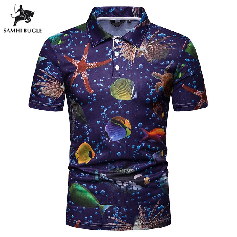TIMESUNION 2019 New Men   POLO     Polo   shirts Fantasy ocean Print Homme Slim Fit Summer Short-sleeve Cotton Camisa Brand Clothing