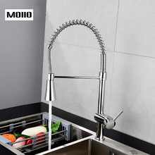 MOIIO  Kitchen Sink Chrome Single Handle Mixer Tap Swivel Pull Down Spray Faucet Deck Mounted Spout Pull Out  kitchen torneira цена и фото