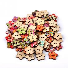 100pcs/lot Circular Button Random Mix Wooden Painting Buttons Craft Scrapbook Sewing Accessories Cardmaking DIY Home Decor Tools