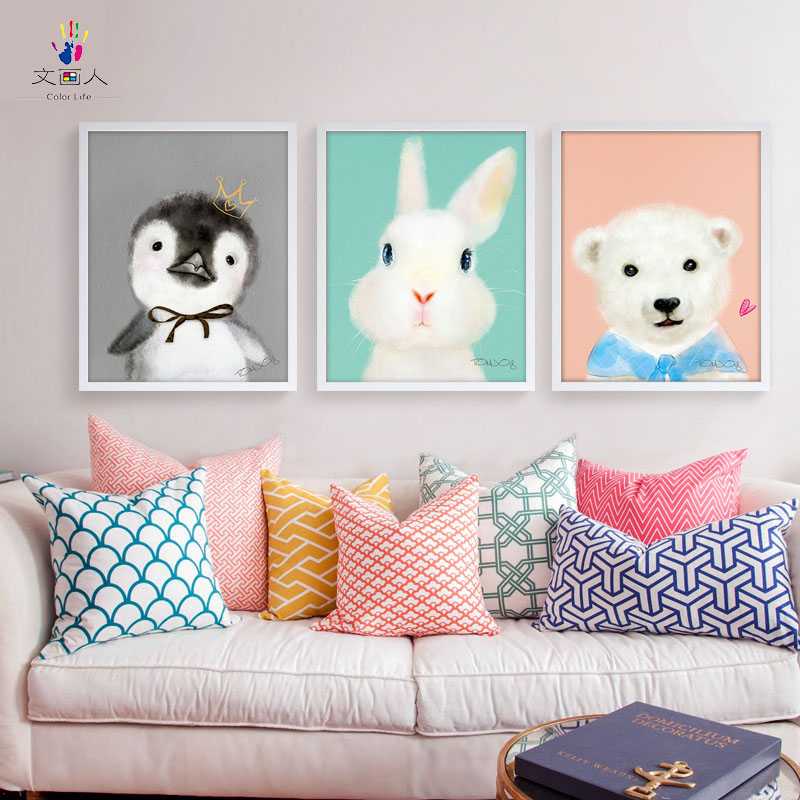 Paints By Numbers 3 Pieces Cartoon Animals Chick,Rabbit And Bear Pictures Paintings Drawings By Numbers With Kits For Children