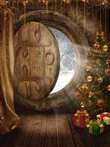Image 2 - Allenjoy achtergronden voor fotografie studio kerst foto De kerstboom gift log deur viering Achtergrond photocall
