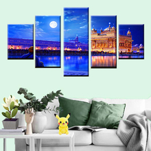 HD Print Poster 5 Pieces Indian Golden Temple Canvas Painting Home Decor Modular Wall Art Living Room Picture Frame