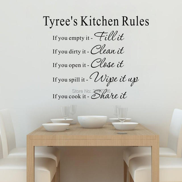 Merveilleux Personalized Your Name Kitchen Rules Quotes Wall Decal Art Lettering Vinyl  Sticker