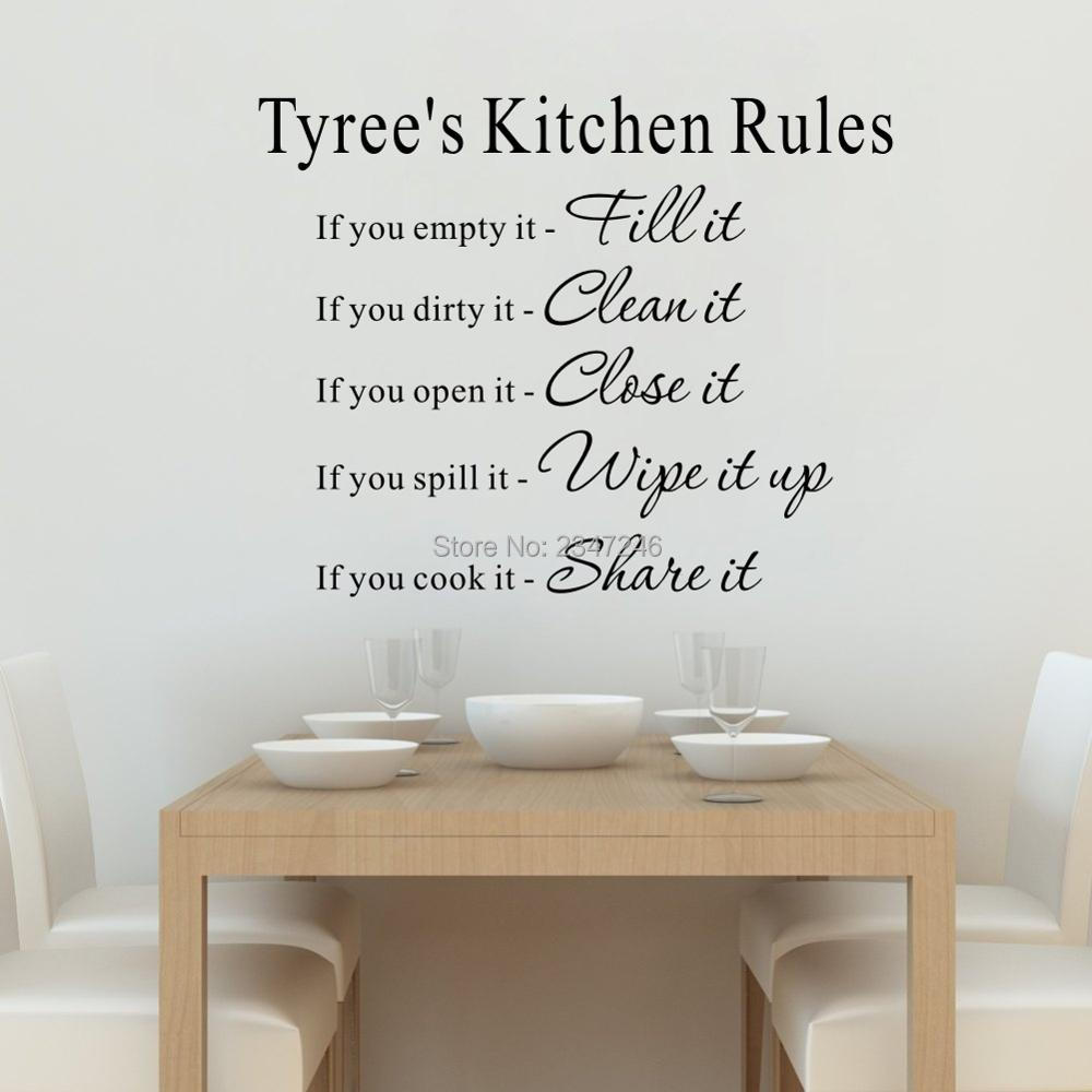Personalized Your Name Kitchen Rules Quotes Wall Decal Art Lettering Vinyl Sticker