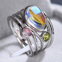 Crystal Female Big Moonstone Ring Fashion silver color Rose Gold Wedding Jewelry Promise Love Engagement Rings For Women unique style female crystal round leaf finger ring silver rose gold color wedding ring promise love engagement rings for women